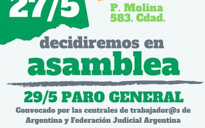27/5, ASAMBLEA EN EL GREMIO POR PARO